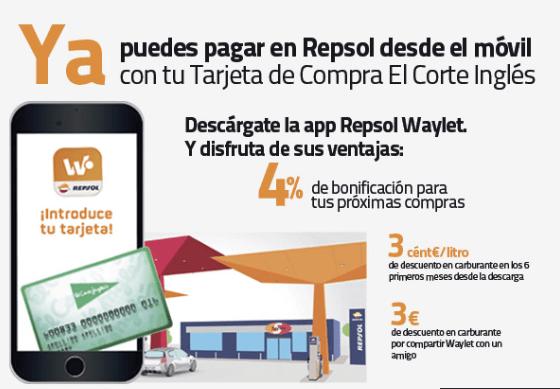 Tarjeta El Corte Inglés y App Repsol Waylet